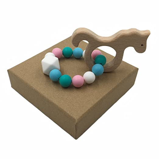 Wooden Teether Natural Baby Toy Organic Eco-friendly Wood Teething 4-pack SEA