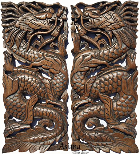 Asiana Home Decor Lucky Chinese Dragon Wood Wall Art Sculpture. Feng Shui Daragon Carved Wood Wall Panel. Size 17.5