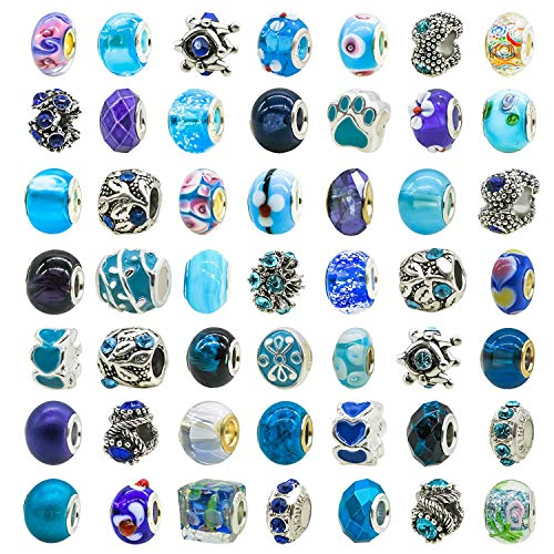 Wholesale Paracord Supplies (TOAOB 50pcs Assorted Glass European Lampwork Beads Large Holes Spacer Beads Rhinestone Metal Charms Supplies for Bracelet Necklace Jewelry)