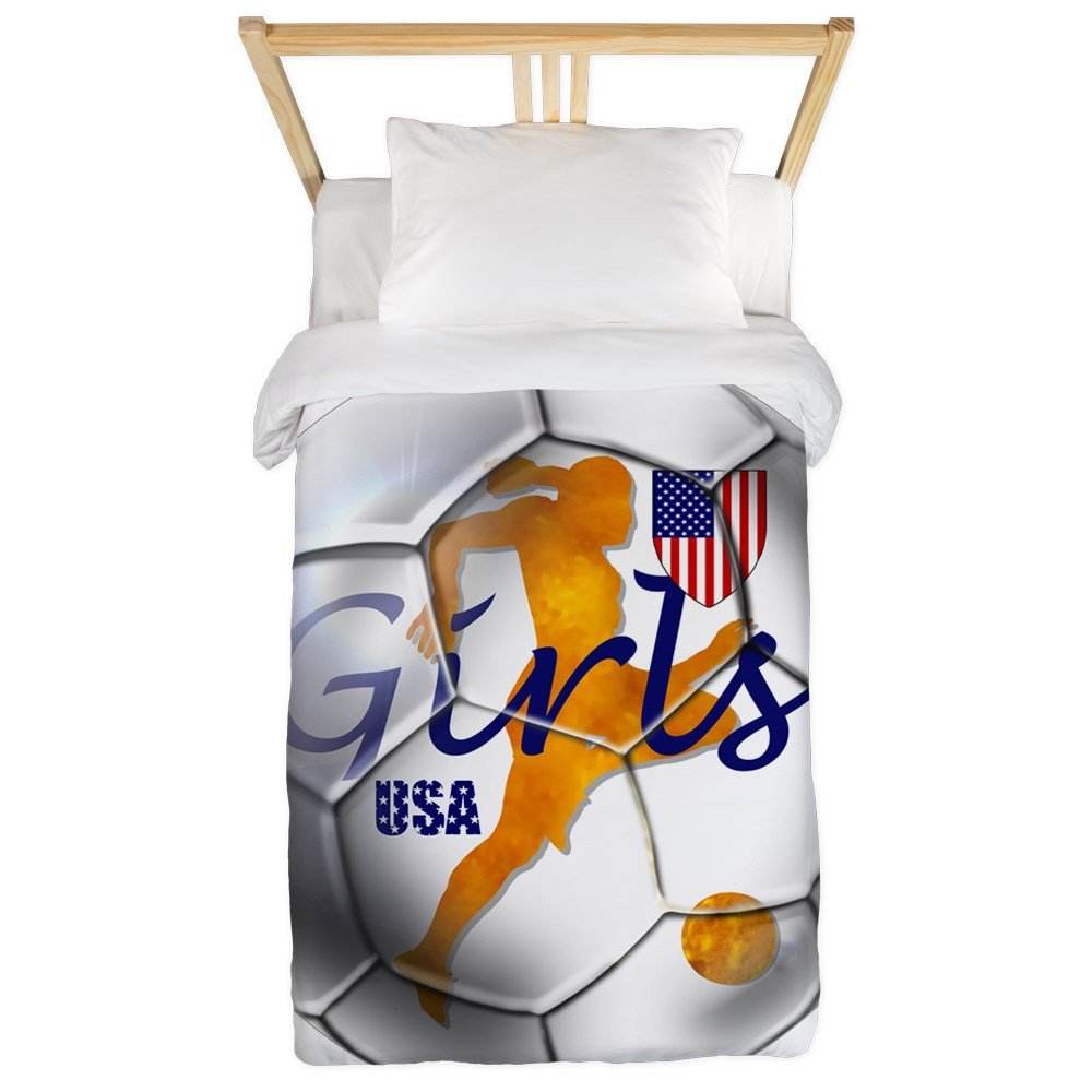 CafePress - USA Girls Soccer Twin Duvet - Twin Duvet Cover, Printed Comforter Cover, Unique Bedding, Microfiber