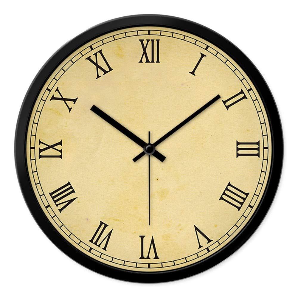 Multi-Clocks Wanduhr funkwanduhr bahnhofsuhr Wall Clock Clocks Prägnant modern römische Ziffern stumm Wände Quarzuhr schwarzer Stift schwarzer Rahmen 12in(30.5cm)
