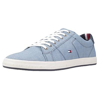 Mens Essential Pique Denim Low-Top Sneakers, Beige Tommy Hilfiger