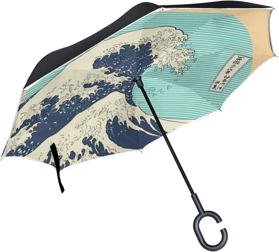 Inverted Umbrella with Asian Orient Japanese Waves Print Car Reverse Folding Umbrella Windproof UV Protection with C-Shaped Handle