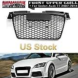 MotorFansClub Grille Sport Mesh Gloss Black Front Hood Bumper Grill for Audi TT 8J SFG MK2 2007-2014