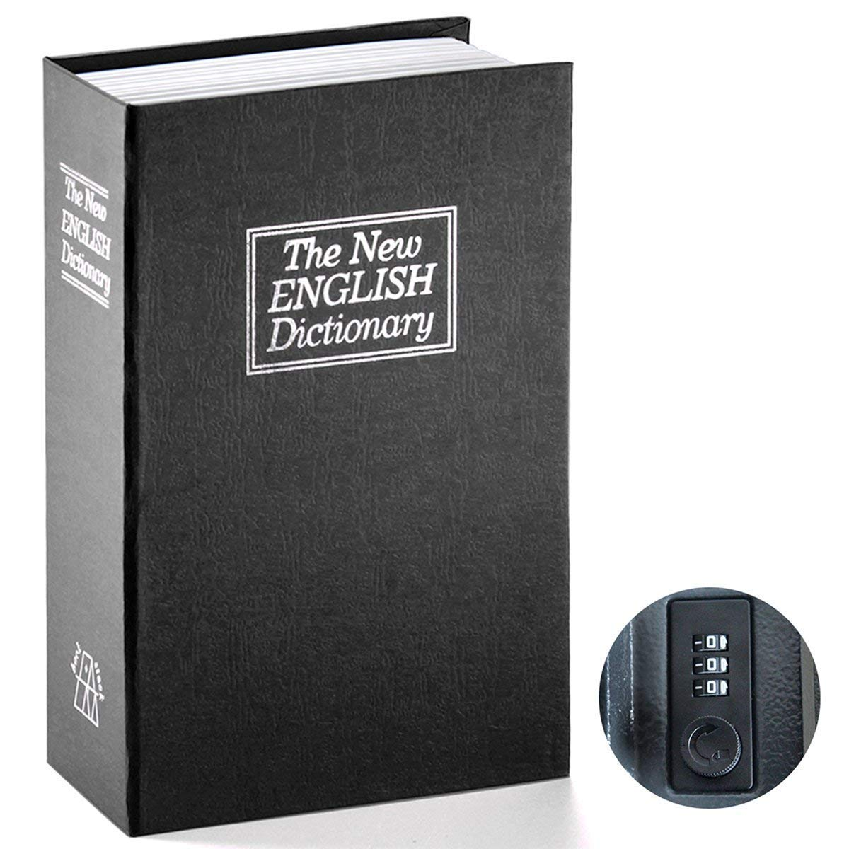 PrimeSons Home Dictionary Diversion Book Safe with Key Lock, Metal, Black