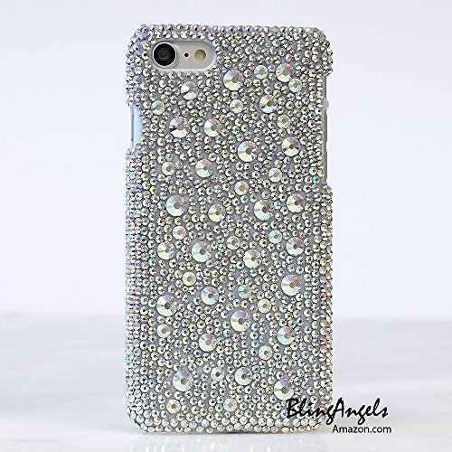 iPhone 8 Case, iPhone 7 Case, [Premium Handmade Quality] Bling Genuine AB Crystals and Stones Hybrid Protective Cover for iPhone 8/7 by LUXADDICTION