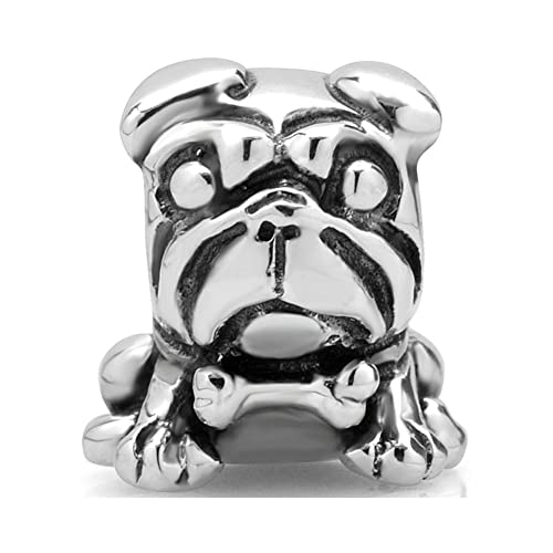 I Love You Bulldog Charm Bead - Sterling Silver 925 - Gift boxed 8WOPIg7GMD