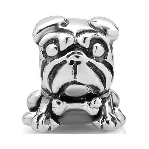 Amazoncom 925 Sterling Silver Pug Dog Bead Charm Fit Major Brand