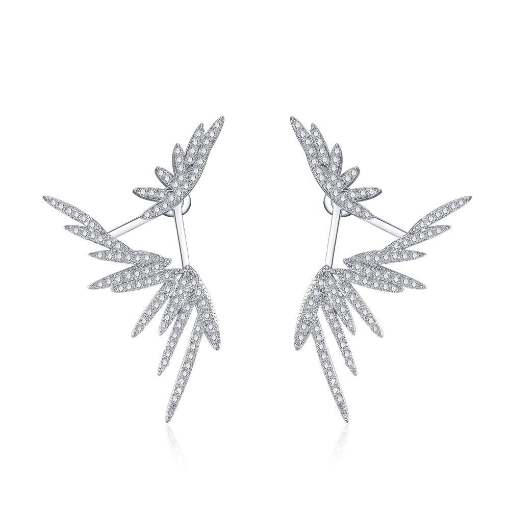 Fairy Wings Jacket cz Stud Earrings for Women And Girls Jewelry Ear Cuff Earrings by Estella Sun