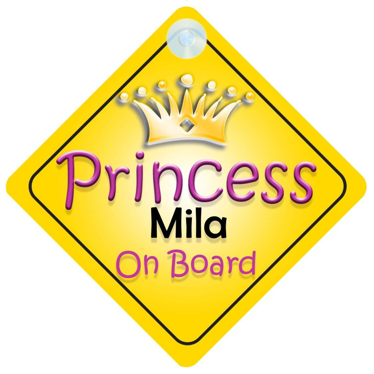 Princesse Mila on Board Panneau Voiture Fille/Enfant Cadeau Bé bé /Cadeau 002 mybabyonboard UK