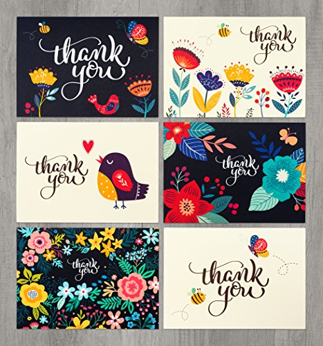 48 Floral Thank-You Cards Bulk - Perfect for Wedding, Engagement, Baby Shower, Kids, Business, Anniversary or Graduation - 4x6 Photo Size - Crafted in the USA with Thick 12PT Card Stock