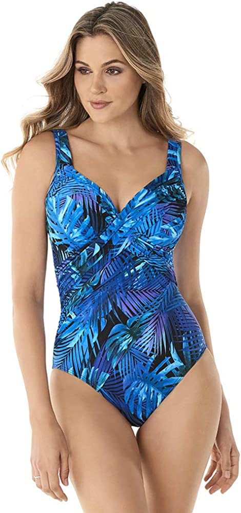 Miraclesuit Women's Swimwear Royal Palms Revele V-Neckline Underwire Wrap Style One Piece Swimsuit