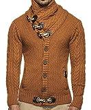 Runcati Mens Autumn Casual Multi-Layer Collar Button Closure Knitting Sweaters, Brown, Medium