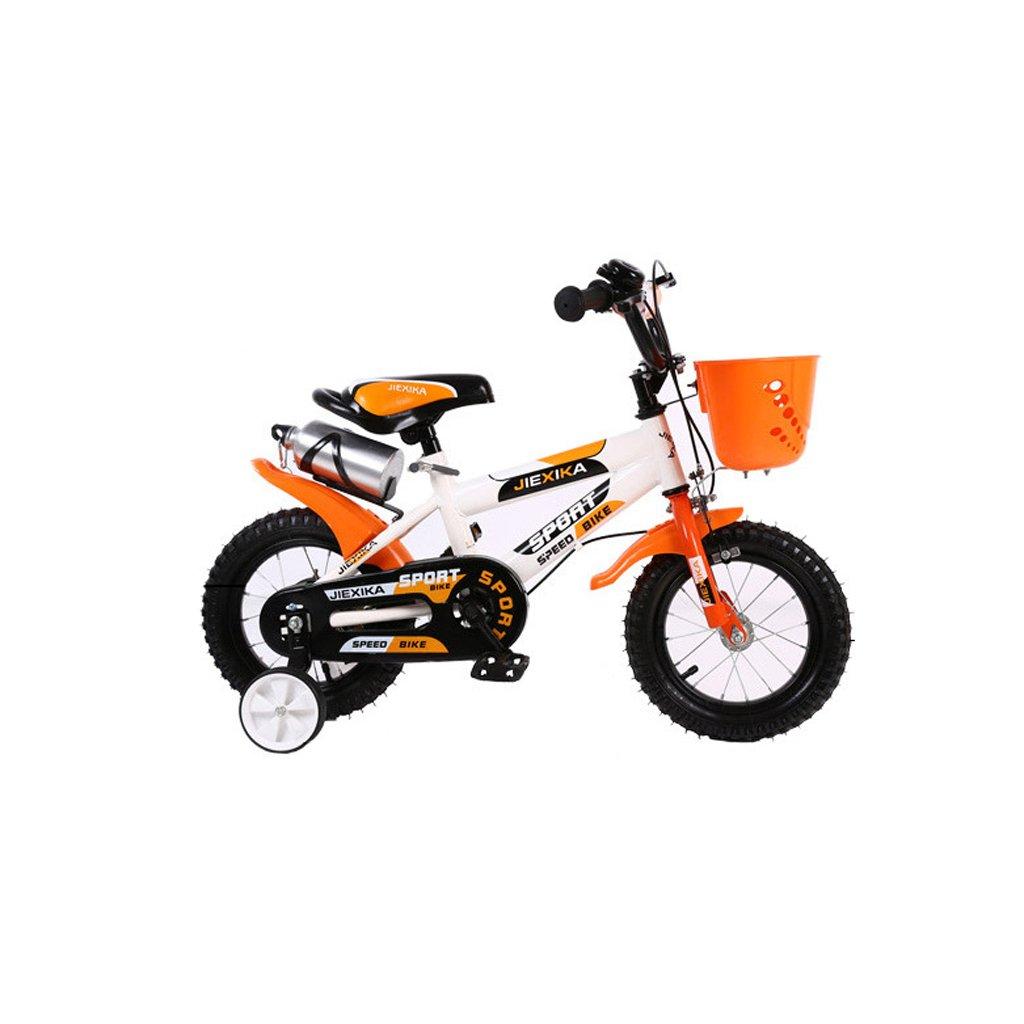 Xiaoping Cochecito de bebé Bicicleta para Niños 16 Pulgadas Cochecito de bebé Bicicleta para Bebés MTB de Acero al Carbono de 4 a 7 Años, Naranja/Verde (Color : Orange)