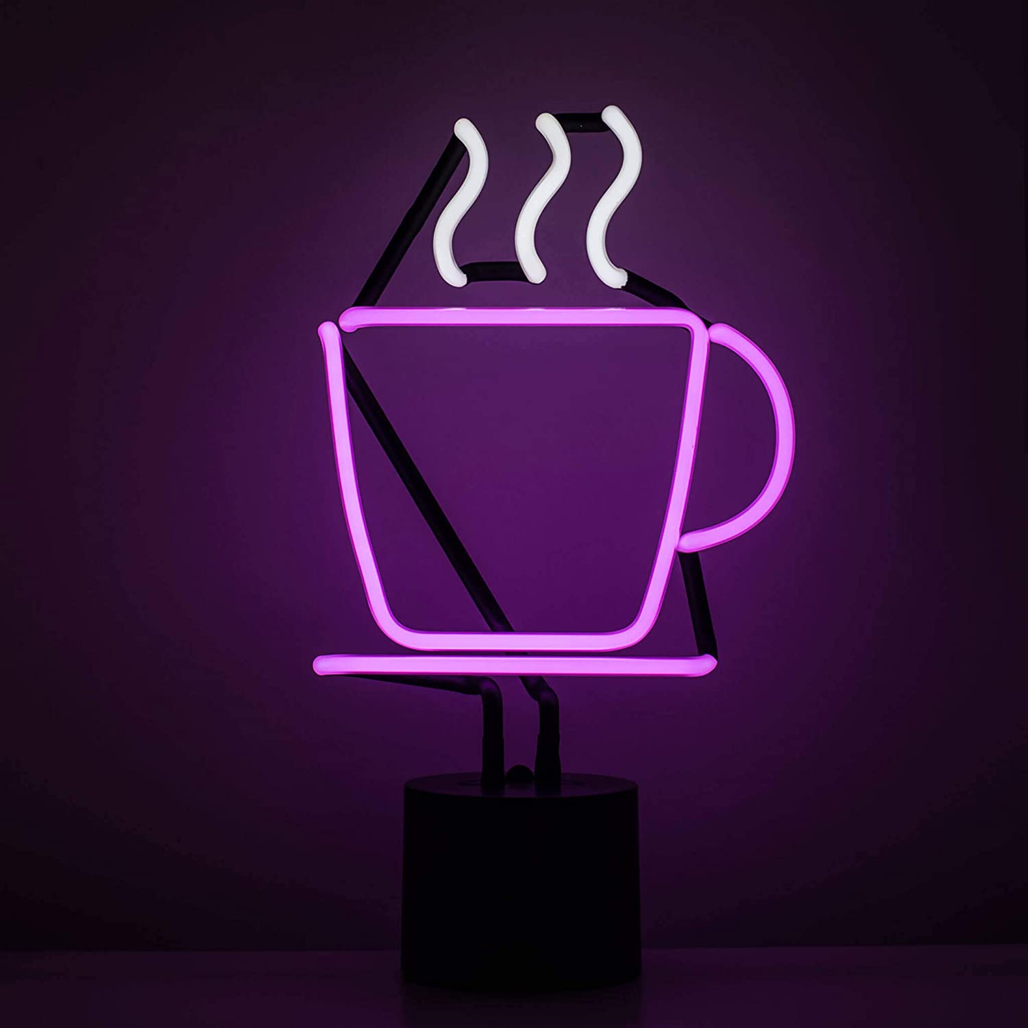 Amped & Co Coffee Cup Neon Table Light, Real Neon Cafe Sign, Purple with White Steam, Large 14 x 8 inches, Home Decor Signs for Unique Rooms