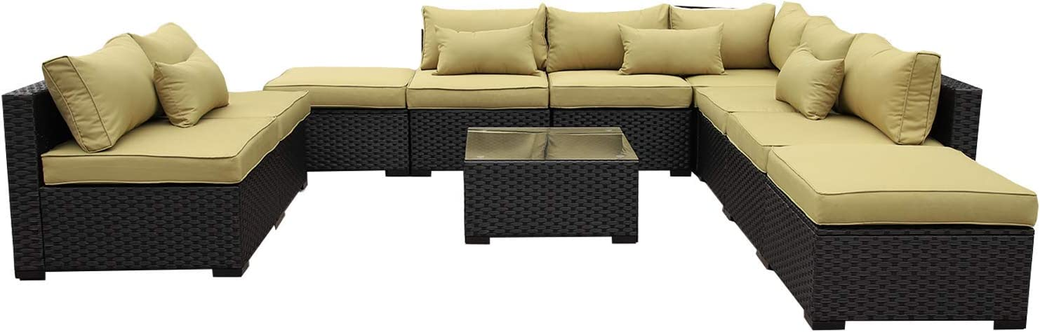 VALITA Patio PE Wicker Furniture Set 10 Pieces Outdoor Black Rattan Sectional Conversation Chair Sofa with Olive Green Cushions