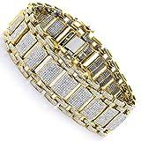 Luxurman Unique Mens Iced Out Pave Cut Natural 8 Ctw Diamond Bubble Bracelet (Yellow 10K Gold)