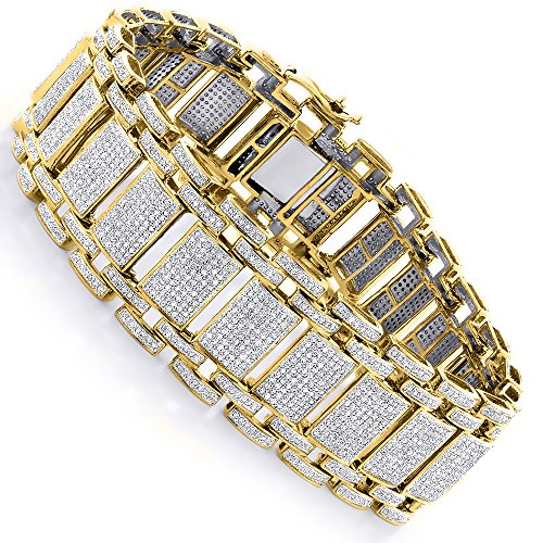 Luxurman Unique Mens Iced Out Pave Cut Natural 8 Ctw Diamond Bubble Bracelet (Yellow 10K Gold)
