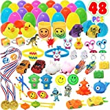 Toy Prefilled Surprise Eggs 48 Pieces; 2 1/4 inch Filled Eggs with Mini Novelty Toys for Easter Basket Stuffers, Surprise Filled Eggs, Easter Hunt Event, Party Favor Supplies, Goodie Bag Fillers, Classroom Prize Supplies