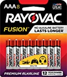 #2: RAYOVAC AAA 8-Pack FUSION Advanced Alkaline Batteries, 824-8TFUSJ