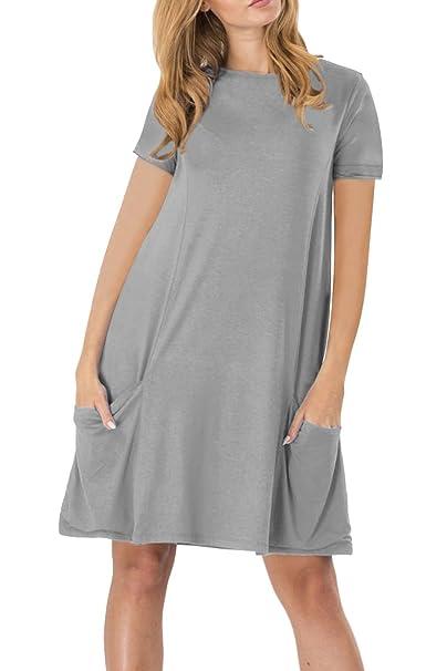 a14694bf2e850 YMING Women Summer Tunic Dress Casual Loose Fit T-Shirt with Pocket Short  Sleeve Tunic,Grey,XL/UK 16: Amazon.co.uk: Clothing