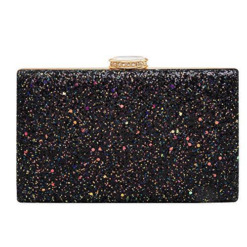 - Women's Elegant Sparkling Glitter Evening Clutch Bags Bling Evening Handbag Purses for Wedding Prom Bride(Pink)
