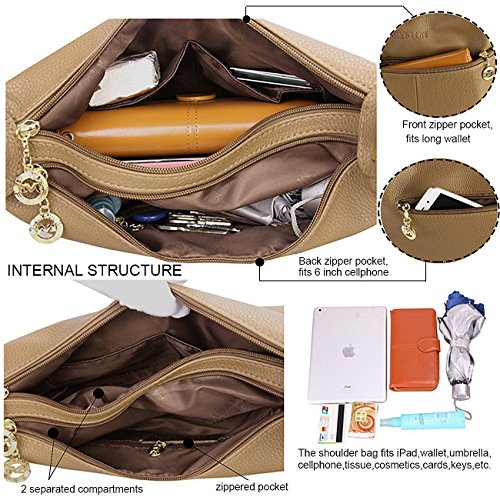 for Satchel Bags Women��s and Khaki Body Deep Purse Leather Cross Ladies Bag Shoulder Hobo Handbags Crocodile BBw7xgfqF