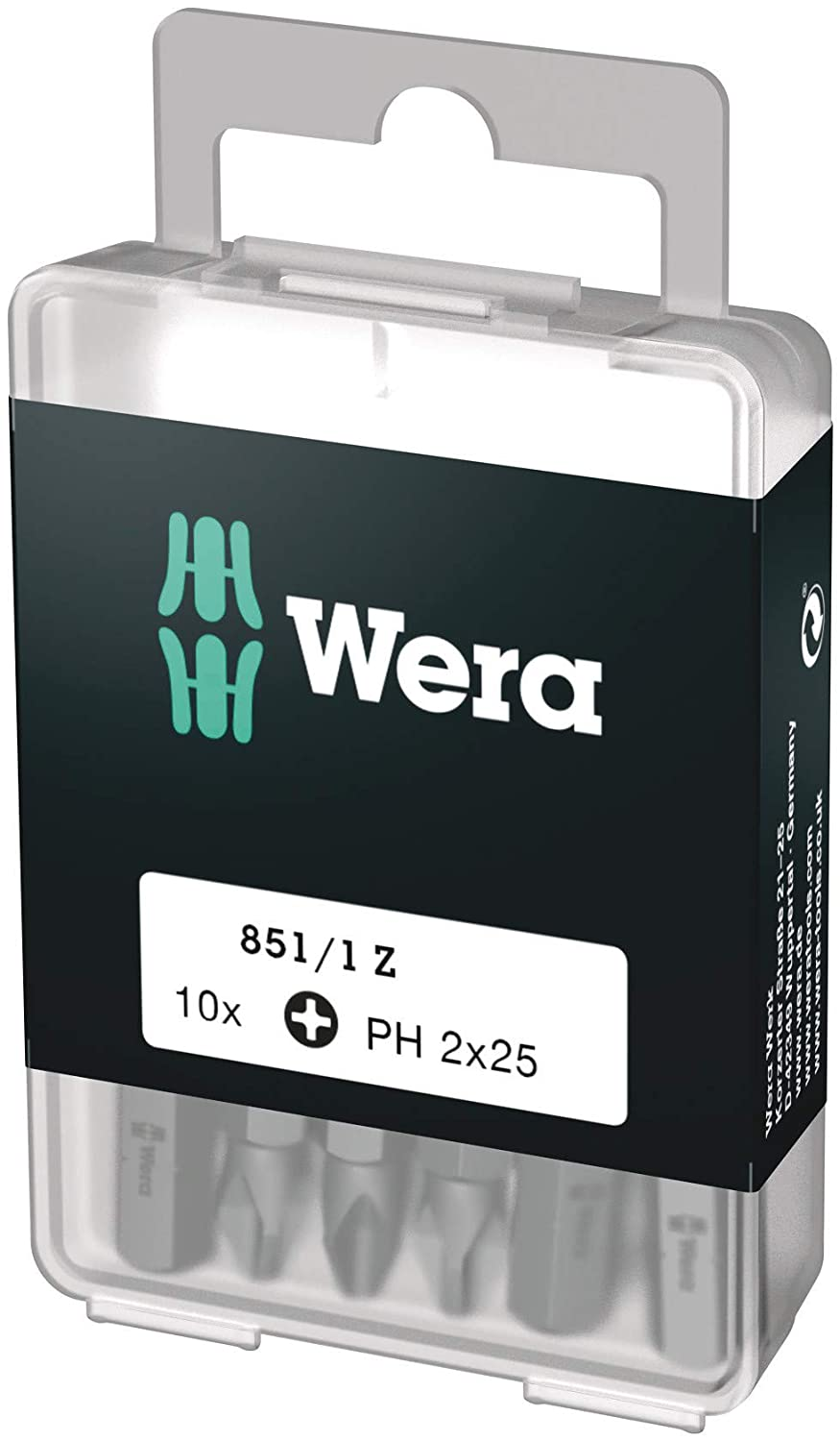 Wera 05072401001 Phillips Extra-Tough Bits 851/1 Z PH2 x 25 mm, Pack of 10