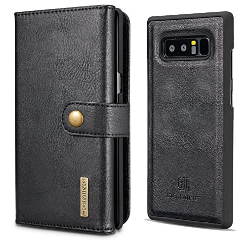 XRPow Galaxy Note 8 Magnetic Detachable Wallet Case Premium Removable Back Cover Slim Leather Folio Wallet 15 Card Slots Holder Case for Samsung Galaxy Note 8 Black ()