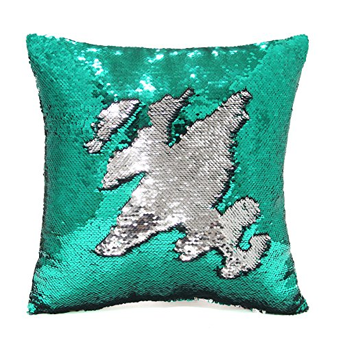 Play Tailor Mermaid Pillow Case, Magic Reversible Sequin Pillow Cover Throw Cushion Case 16X16 (Green-Silver)