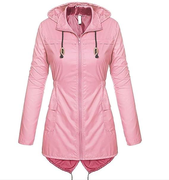 HAOKTY - Chaqueta - para Mujer Rosa Large: Amazon.es: Ropa y ...