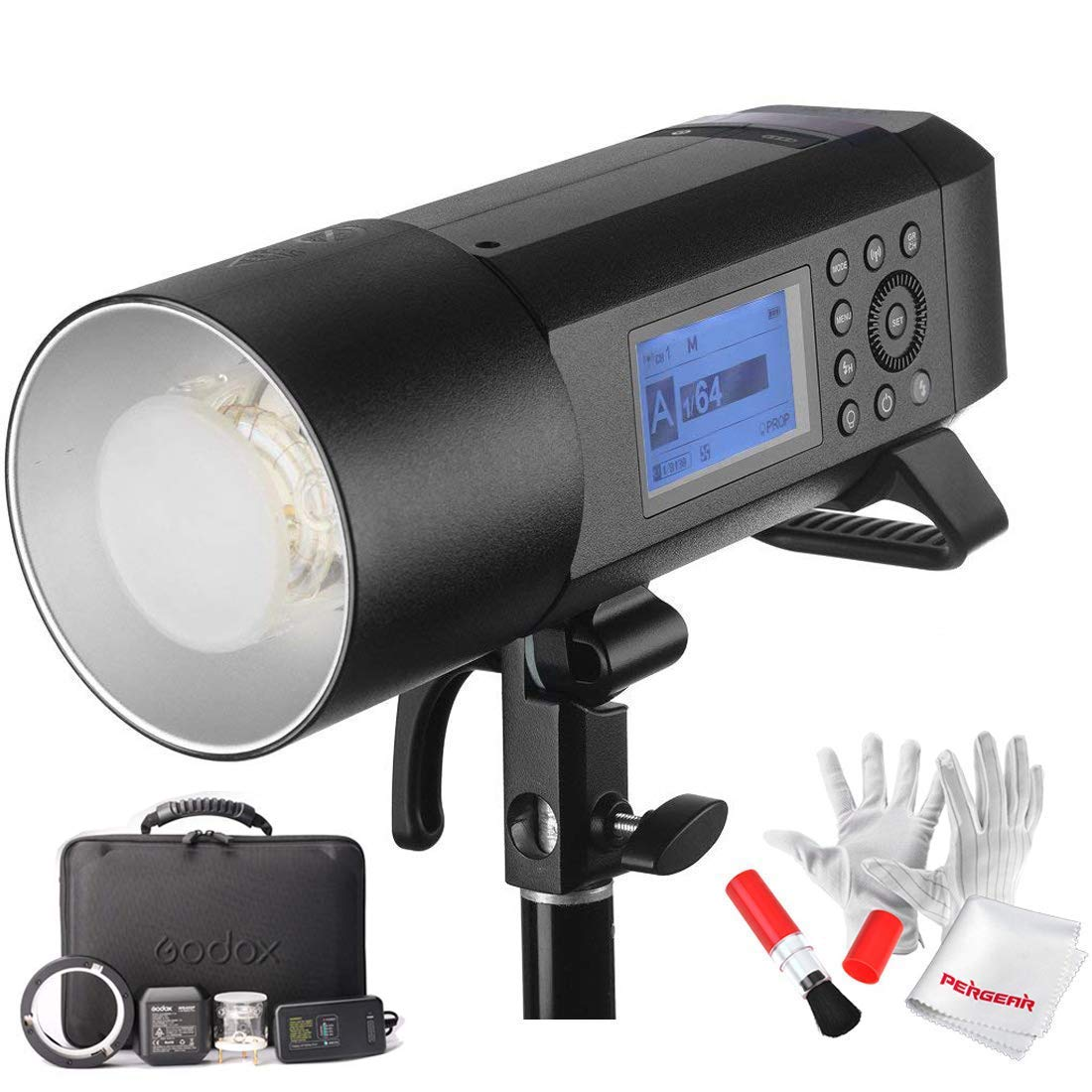 Godox AD400 Pro AD400Pro 400ws GN72 TTL Battery-Powered Monolight, 1/8000 HSS Outdoor Flash Strobe Light, Built-in Godox 2.4G System, 390 Full Power Pops, 0.01-1s Recycle Time, 30w LED Modeling Lamp by Godox (Image #1)