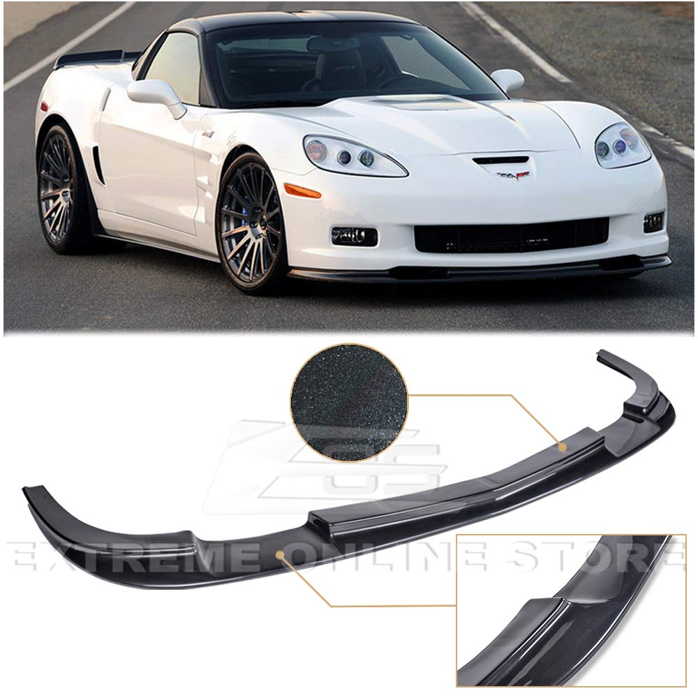 Extreme Online Store Replacement for 2005-2013 Chevrolet Corvette C6 Wide Body Models | ZR1 Style ABS Plastic Painted Carbon Flash Metallic Front Bumper Lower Lip Splitter