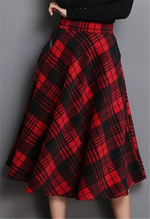 Swing Dance Dresses | Lindy Hop Dresses & Clothing ETCYY Womens Vintage Geometric Thicken Suede Zip Up Midi Plaid Skirts $29.89 AT vintagedancer.com