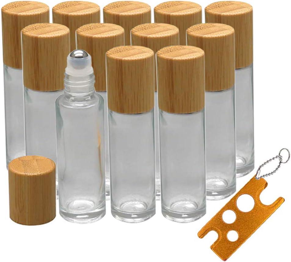 12pz roll on cristal 10ml envase roll on rellenable con tapa de bambú, Creatiees rellenable de cristal Roller roll-on botellas de aceites esenciales con bola de metal de acero inoxidable
