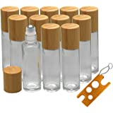 12Pcs 10ml Glass Roll On Bottle with Bamboo Lid for Essential Oils, Creatiee Eco-friendly Refillable Clear Perfume…