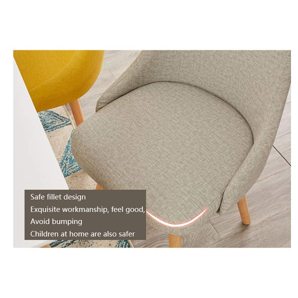 XIAOLI 2 st nordisk hemstol enkel bok bord och stolar fritid baksäte linne konst matstol förhandlingsstol (färg: Brun) Khaki