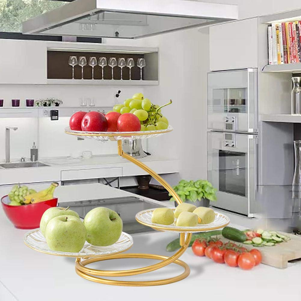 Blossomer Présentoir moderne innovateur de plat de fruit de fer forgé à trois couches pour le salon kindness