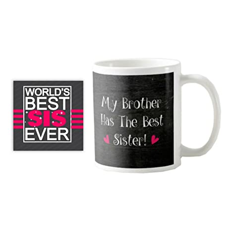 Giftsmate Bhaidooj Gifts For Sister Mug My Brother Has The Best Combo Coaster Set