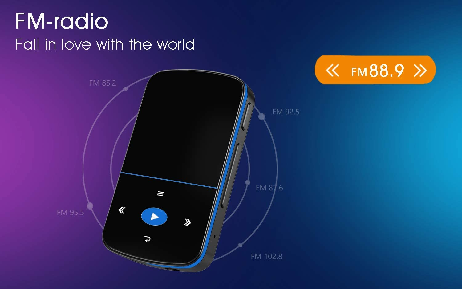 Vioce Recorder Mibao MP3 Player with Bluetooth Portable Music Player with Clip FM Radio 32GB Mini MP3 Player Sport Pedometer Ideal for Sports Expandable up to 64GB Micro SD Slot