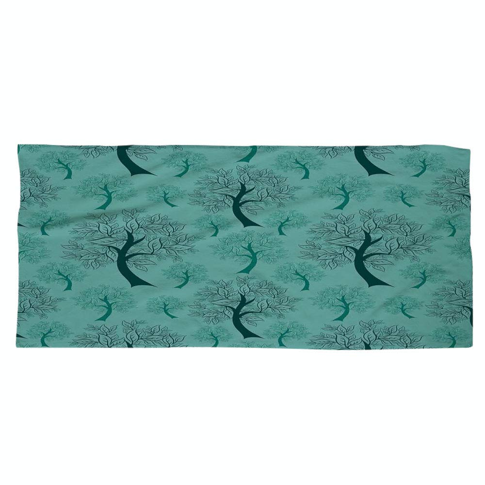 Large Cotton Microfiber Beach Towel,Leaves,Pattern of Trees Silhouettes Forest Floral Decor Foliage Country Style Print Decorative,Green Teal,for Kids, Teens, and Adults