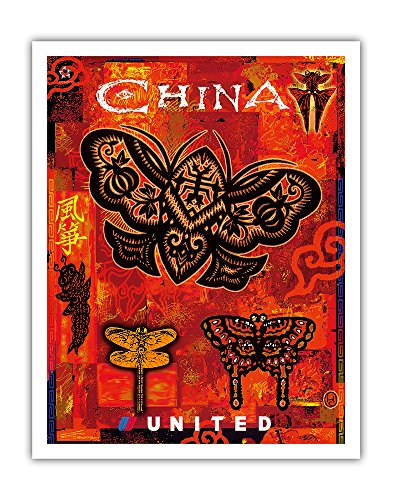Pacifica Island Art China - Kites in the Shape of Dragonflies and Butterflies - United Air Lines - Vintage Airline Travel Poster by Harvey Chan 2004 - Fine Art Print -