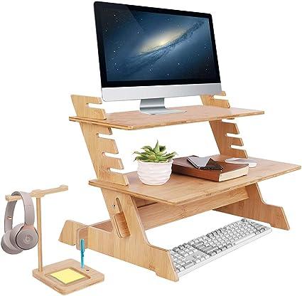 UKMASTER Mesa para Ordenador de Pie, Mesa Ordenador Bambú, de 6 Alturas Ajustables, para Monitor, Pantalla, Teclado, con Soporte para Auriculares, 66 ...