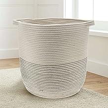 Extra Large 18x16 Woven Storage Baskets - Cotton Rope Basket - Baby bins for toys, towels, blankets, nursery room - Basket Decor - Home storage basket - Laundry Hamper