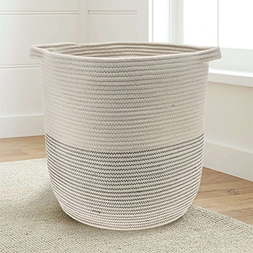 Cotton Hamper (Extra Large 18x16 Woven Storage Baskets - Cotton Rope Basket - Baby bins for toys, towels, blankets, nursery room - Basket Decor - Home storage basket - Laundry Hamper )