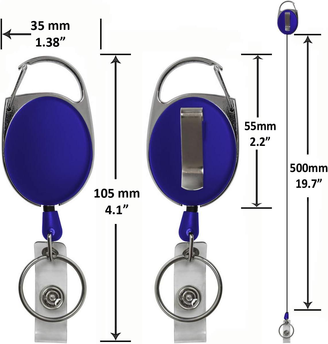 nom avec mousqueton Rolseley Porte-badge r/étractable personnalisable avec texte personnalis/é clip ceinture et porte-cl/és 1 Pink