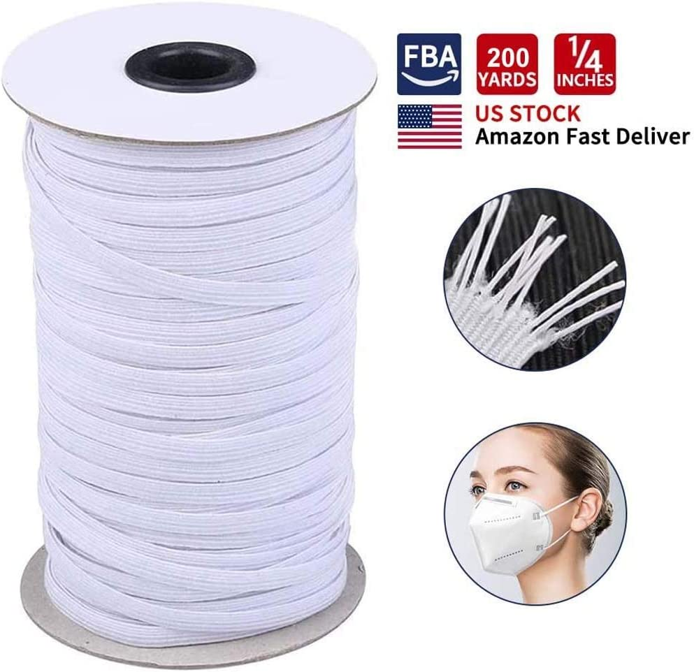 Elastic Band//Elastic Rope//Bungee//White Heavy Stretch Knit Elastic Spool White 10 Yards Length 1//4 Briaded Elastic Band Make mask String