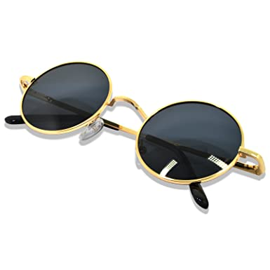 Round Metal Frame Sunlasses Steampunk Vintage Driving Polarized Glasses with Spring Frame for Men and Women(Gold Frame/Ice Blue Lens) Rv9WhmB7j