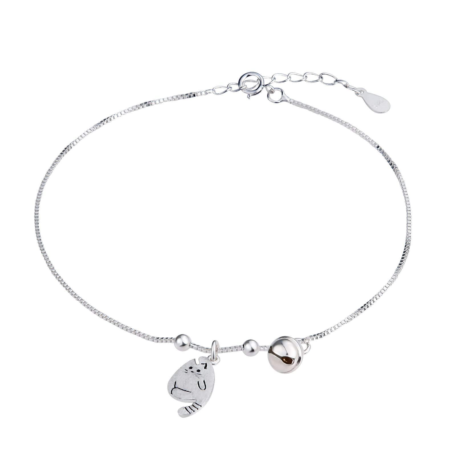 Beydodo Ankle Bracelet Sterling Silver Bells Beach Foot Jewelry Wedding Cat and Bells Charms