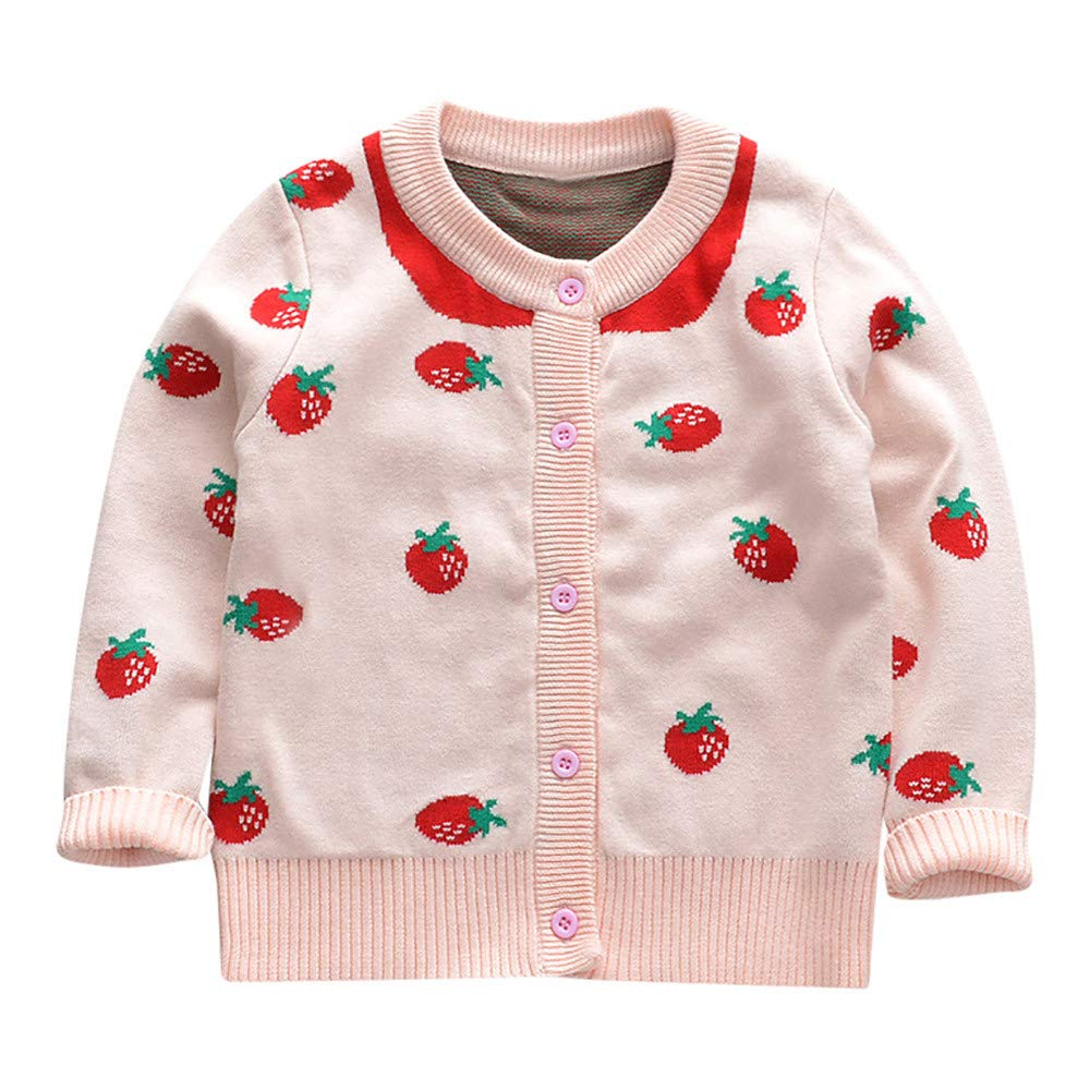 ❤️Mealeaf❤️ Baby Boys and Girls Clothes with Toddler Baby Girl Long Sleeves Strawberry Knit Cardigan Sweater Kid Clothes (0-12 Months Old, Pink)